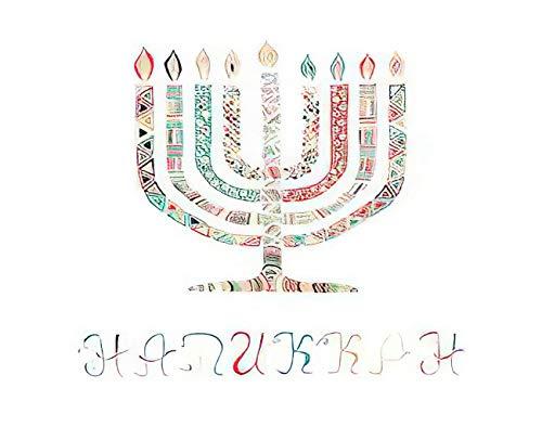 MQPPE Cute 5D DIY Diamond Painting Kits, Happy Hanukkah Menorah Candelabra Light Burning Candle Chanukah Full Drill Painting Arts Set Craft Canvas for Home Wall Decor Adults Kids, 16' x 20'