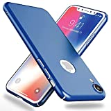 NALIA Funda Compatible con iPhone XR, Hard-Case Protectora Ultra-Fina Bumper Carcasa Dura en Look de Metal, Ligera Cubierta Telefono Movil Cobertura Premium Smart-Phone Cover, Color:Azul
