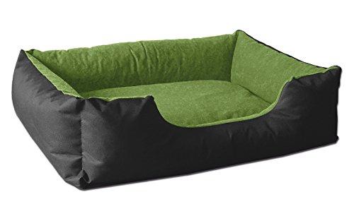 BedDog® Hundebett LUPI, Hundesofa aus Cordura, Microfaser-Velours, waschbares Hundebett mit Rand, Hundekissen Vier-eckig, für drinnen, draußen, XL, Green-Field, schwarz-grün