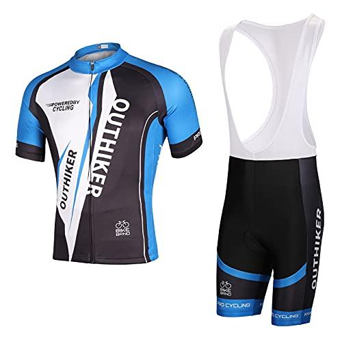 OUTHIKER Completo da Ciclismo Uomo, Maglia da Ciclismo a Manica Corta Body da Ciclismo Asciugatura Rapida per Uomo