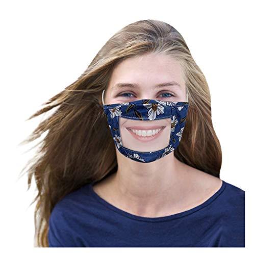 1 Stück Flexibel mundschutz transparent Lippen Mundschutz mit klarem Fenster, Staub mundschutz mit Motiv Waschbar Lip Speaking Visual mundschutz Für Gehörlose (Blau)