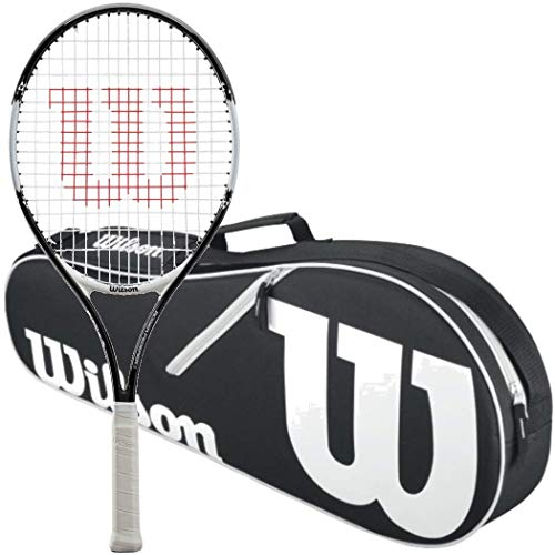 Wilson Roger Federer 21 Inch Pre-Strung Junior Black/Red Tennis Racquet Kit or Set Bundled with a Black/White Advantage 3-Pack Tennis Bag (Best Racquet for Kids Ages 6-8)