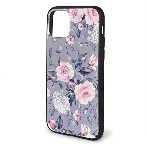 Compatible con iPhone 11, fundas de absorción de golpes para 6.1 pulgadas, diseño floral y morado y gris de hojas
