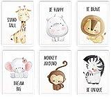 WIETRE® 6er Set Bilder Tiere Kinderzimmer Babyzimmer Deko | Bild Junge Mädchen Poster DIN A4 | Waldtiere Safari Afrika Tiere Tierposter Dekoration (mit weißen Rahmen)