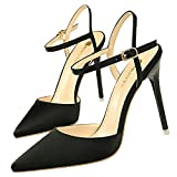 Size34-40 Woman Thin Heels Sandals Women Summer Sexy Silk Shoes Ladies Leisure Career Dress Shoes Woman 10.5cm High Heels Shoes Black 34
