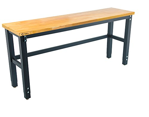 "TRINITY TLS-7202 Wood Top Work Table, 72"" x 19"", Black"