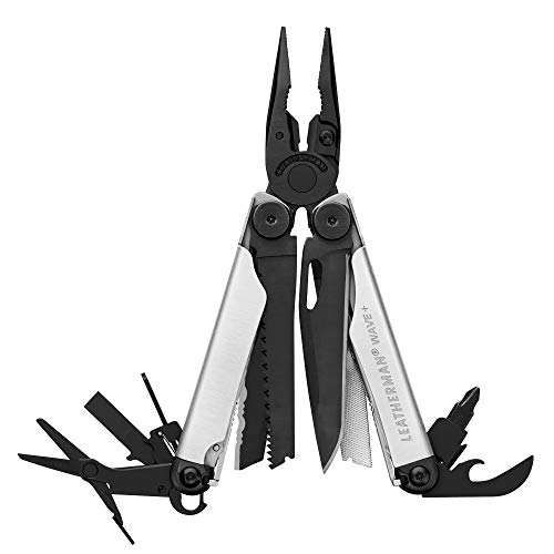 LEATHERMAN, Wave Plus Multitool with Premium Replaceable Wire Cutters and Spring-Action Scissors, Built in the USA, Limited Edition Black Silver with Nylon Sheath