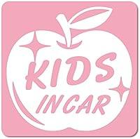 imoninn KIDS in car ステッカー 【マグネットタイプ】 No.63 リンゴ (ピンク色)