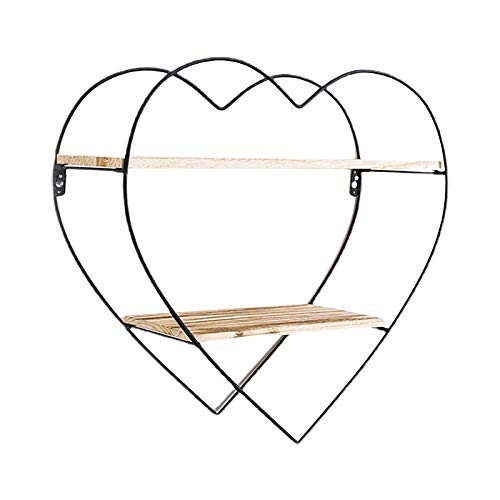 Heart Floating Shelves Wall Rack Industrial Storage Decorative Shelves Set for Picture Collectibles, Great for Living Room Bedroom, Kitchen, Office