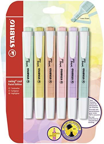 Evidenziatore - STABILO swing cool Pastel - Pack da 6 - Colori assortiti