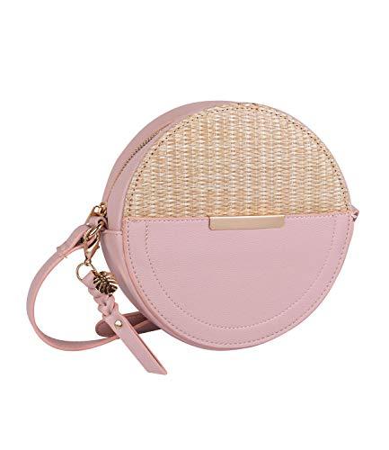 SIX Stylische runde Damenhandtasche in geflochtener Bast Optik mit rosa Kunstleder und goldenen Details (726-708)