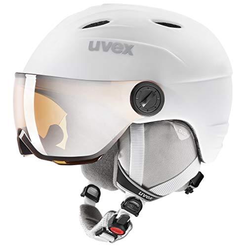 uvex Unisex Jugend junior Visor pro Skihelm, White, 54-56 cm