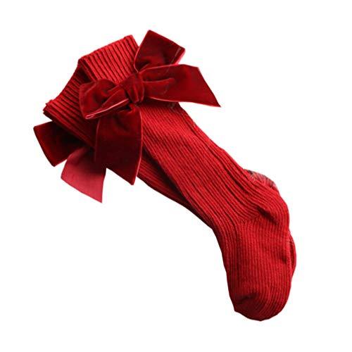 SOIMISS Calcetines de Bowknot de La Infancia Bebé Niñas Algodón Cálido Botines hasta La Rodilla Calcetines Calcetines de Tubo de Punto Uniforme Medias para Bebés Pequeños Rojos M