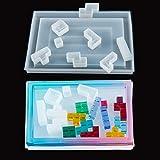 iSuperb 9pcs Moldes de Silicona Resina Epoxi Moldes de Tetris Cuadrado Cube Silicone Casting Moldes de Cubo Puzzle Tangram Jigsaws para Niños, Molde para Hacer Joyas