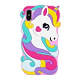 EMF Cute Colorful Pegasus Case for iPhone X/XS 10,3D Cartoon Animal Cute Silicone Rubber Protective Kawaii Funny Character Cover,Animated Fun Cool Skin Cases for Kids Teens Girls(iX XS 10)