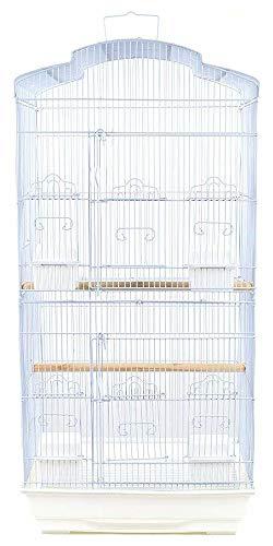 Pet s Solution Gabbia voliera per Uccelli calopsite canarini cocorite inseparabili Nera Bianca (Bianco)