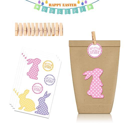 Geschenktüten zu Ostern,12 Geschenktüten Kraftpapier, Mit Deko-Aufklebern &Holzklammern geeignet für Festival,Für Kindergeburtstag Hochzeit Ostertüten Candybag usw (Pink)