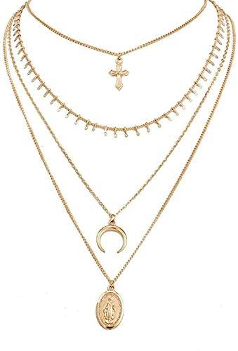NC190 Collar Multicapa Cruz Virgen María Colgante Cadena de Cuentas Collar Cristiano Color Dorado Luna Gargantilla Collar Collier para Mujer