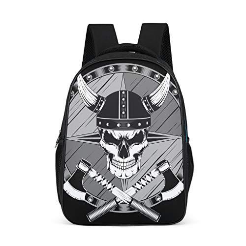 Schulrucksack Wikinger Helm Axt Totenkopf Schultasche Schulranzen Daypack Rucksack Backpack Kinderrucksack Freizeitrucksack für Jungen Mädchen Schwarz 32x18x42 cm