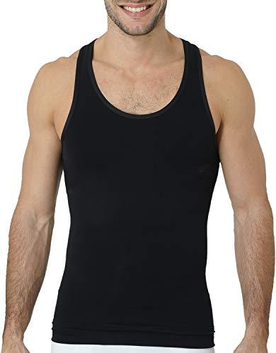 UnsichtBra Shapewear Unterhemd Herren Tank Top | Body Shaper Funktionsshirt Herren | Bauchweg Herren Kompressionsshirt Weiss o. schwarz (sw_7101)(XXL, Schwarz)