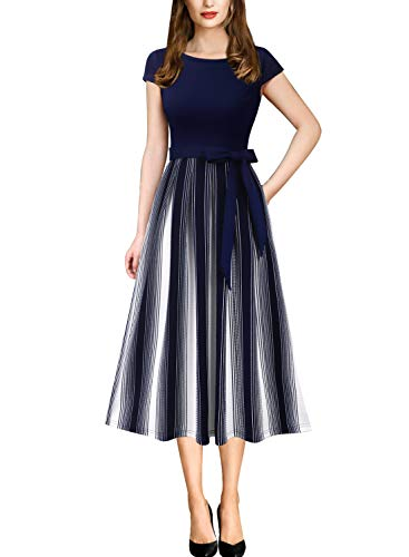 Vfshow Womens Navy Blue and White Striped Print Spring Summer Patchwork Pockets Belted Pleated Work Casual Party A-Line Midi Dress 5278 BLU XXL