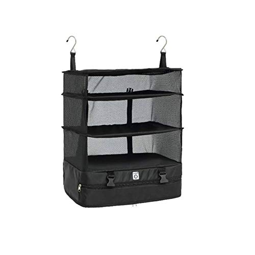 N-B Portable Luggage System Suitcase Organizer (Hanging Travel Shelves & Packing Cube Organizer),Black,Housewares