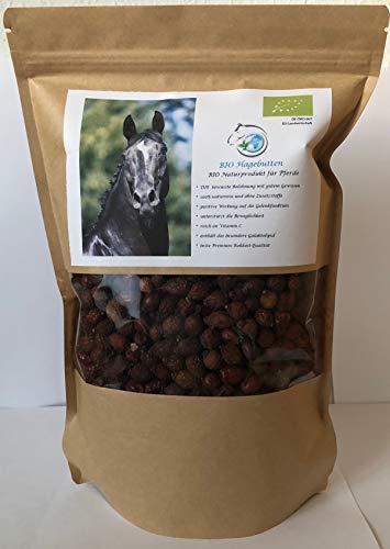 Gesundheitpur für Pferde Bio Hagebutten, ganze Früchte, 1 kg, schonend getrocknet, 100{0464ec0889a4c9840f425c9a416acc7d8bbf4834ae0840513e1ba4bccbbd4643} rein, die bewusste Belohnung mit Vitamin C und wertvollem Galaktolipid, Premium Rohkost Qualität, DE-ÖKO-007