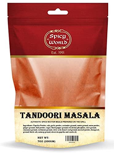 Spicy World Tandoori Masala Spice 7 Oz - 15 spice blend - Natural, No Colors Added