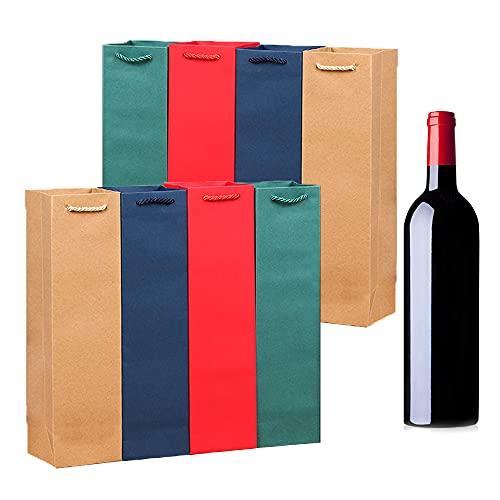 8 Piezas Bolsas para Botellas, Bolsa de Mano de Vino, Bolsas de Regalo de Papel Kraft, Botella Individual Color Sólido Bolsa de Regalo con Mango para Navidad, Fiesta, Regalos de Vino(4 Colores)