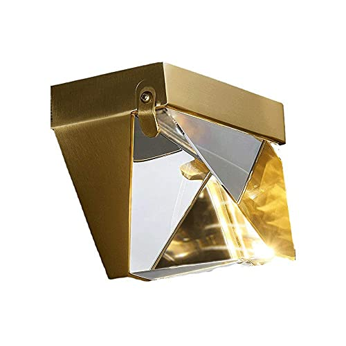 CAIMEI Luz de Soporte Lámpara de Pared de Cristal Aplique de Pared Lámpara de Pared de Latón con Acabado de Re Luces de Montaje en Pared Decoración de la Habitación Del Hogar, Enchufe G9 [Clase Energ