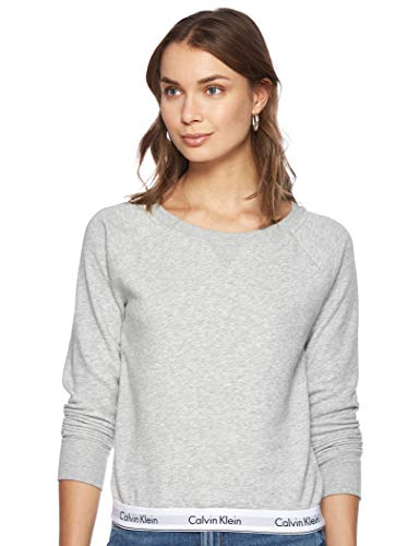Calvin Klein Damen TOP Sweatshirt Long Sleeve Langarmshirt, Grau (Grey Heather 020), One Size (Herstellergröße: L)