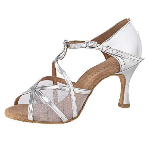 Rummos Mujeres Zapatos de Baile R365 009 - Material: Cuero - Color: Plateado - Anchura: Normal - Tacón: 60R Flare - Talla: EUR 38,5
