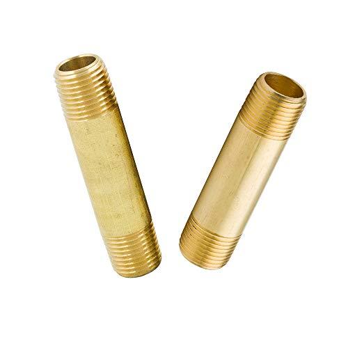 Legines Brass Long Nipple, 1/4' NPT Male x 1/4' NPT Male Pipe Fitting, 2' Length (Pack of 2)