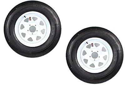 2-Pk Radial Trailer Tire On White Rim ST225/75R15 LRD 5 Lug On 4.5 Spoke Wheel