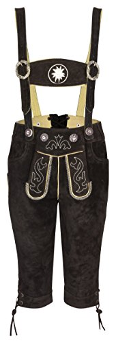 FROHSINN Kinder Trachtenlederhose - Kniebundlederhose mit abnehmbaren Hosenträgern (Dunkelbraun, 152) - Trachten Lederhose Original Jungs und Mädchen