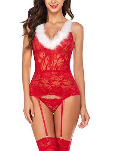 Avidlove Christmas Lingerie for Women Red Santa Babydoll Negligee Mrs Claus Lingerie X-Large