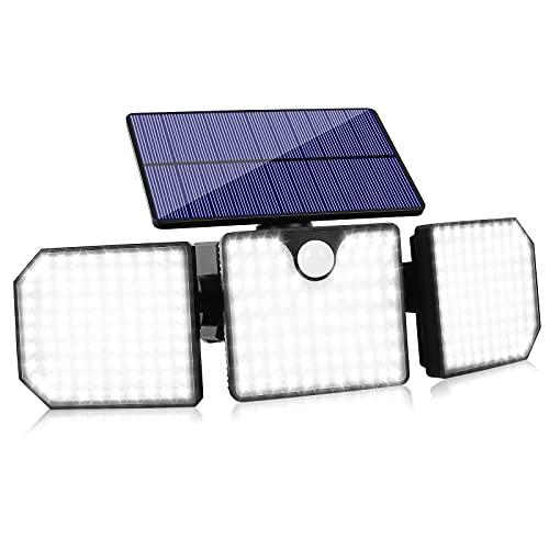 Upgrade Solar Motion Lights Outdoor, 230 LED Solar Flood Lights Outdoor Motion Sensor Security Lights 3 Head Solar Wall Lights 360° Adjustable Spotlights for Porch Patio Yard Garage, (1 Pack)