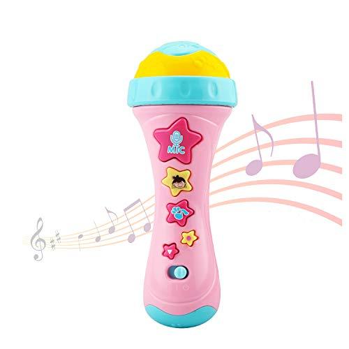 Ellien Micrófono para niños con grabación Larga y Cambio de Voz, Juguetes de Karaoke con música para Cantar para niños y niñas (Amarillo)