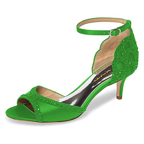 XYD Ballroom Dance Shoes Wedding Sandals Pumps with Rhinestones Ankle Strap Peep Toe Heels for Women Size 10 Lime Green