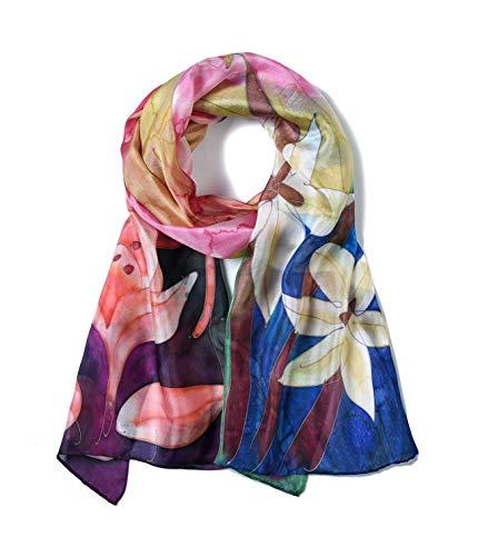Invisible World Pañuelo Cabeza de Seda Foulard de Pelo Ligera Pintado a Mano para Mujer Flores de Lirio Coloridas