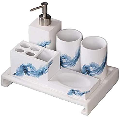 JZDH Accesorios de baño Conjunto de Herramientas de Aseo Organizador de baño Caja de Dientes Caja de Dientes Accessori Bagno Baño Suministros Kit de Accesorios de baño (Color : White)