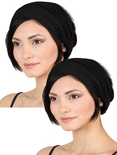 Deresina Elastisches dehnbares Stirnband, Haarband für Haarausfall (Schwarz)