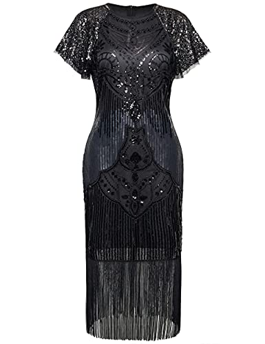 BABEYOND 1920s Art Deco Fringed Sequin Dress 20s Flapper Gatsby Costume Dress with Sequined Sleeves Black