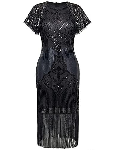 BABEYOND 1920s Kleid Damen Umhang Design Kurz Ärmel Knielang Flapper Kleid 20er Jahre Paillettenkleider Great Gatsby Cocktail Party Damen...