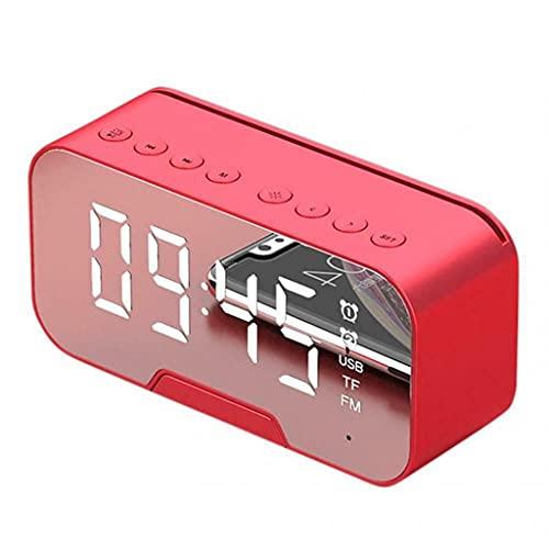 KLHDGFD Columna de música Altavoz inalámbrico espejo despertador compatible con Bluetooth Subwoofer manos libres Decoración del hogar buena digital (color: B, tamaño: talla única)