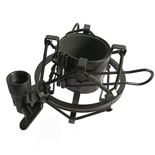 AORO マイクショックマウント マイクホルダー 汎用 カメラ ショックマウント サスペンションホルダー 振動防止 48mm-52mm に対応 ブラック