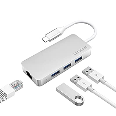 LETSCOM USB-C to USB 3.0 Portable Data Hub with Ethernet Adapter and 3 USB 3.0 Ports, for Macbook Pro, Surface Pro, XPS, Google Pixelbook and More Type C Devices