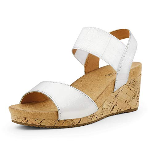 DREAM PAIRS Women's Silver Open Toe Elastic Ankle Strap Summer Platform Wedge Sandals Size 10 M US Nini-7