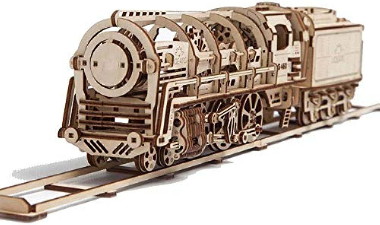 WY-3D Wooden Puzzle Dampflokomotive mit zartem mechanischem Bausatz Modulares, mechanisches Modell mit Eigenantrieb