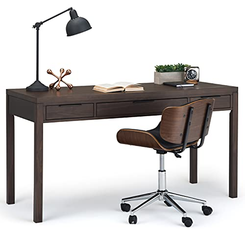 SIMPLIHOME Hollander SOLID WOOD Contemporary Modern 60 inch Wide Home Office Desk, Writing Table, Workstation, Study Table Furniture in Warm Walnut Brown with 2 Drawerss